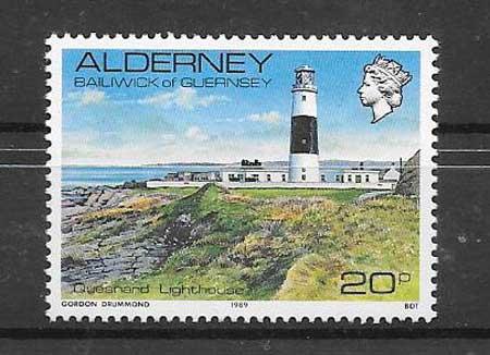 Sellos faro de Alderney 1989