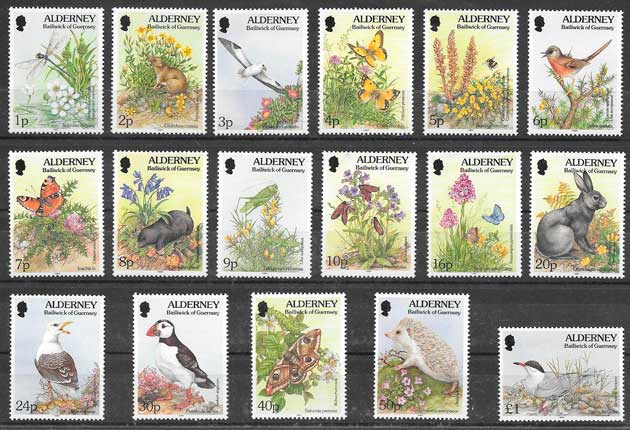 colección sellos fauna y flora Alderney 1994