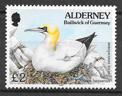 colección sellos fauna y flora Alderney 1995