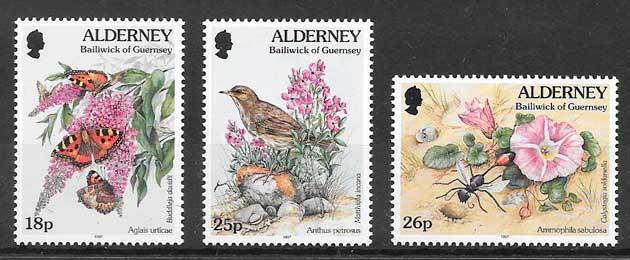 filatelia fauna y flora Alderney 1997