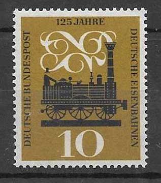 Colección sellos transporte ferroviario Alemania 1960