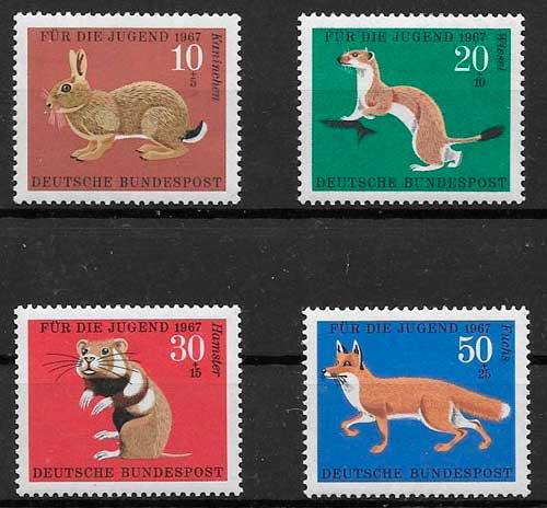 filatelia colección 1967 fauna Alemania