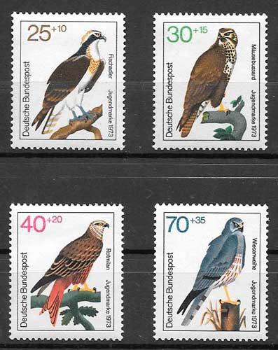 sellos fauna Alemania 1973