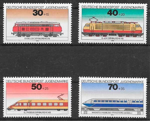 filatelia trenes Alemania 1975