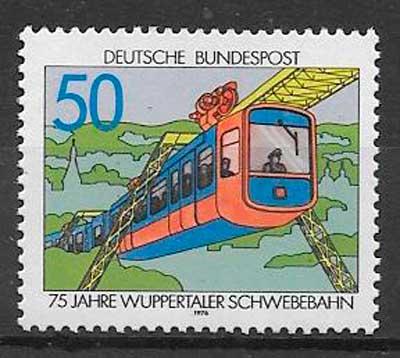 sellos trenes Alemania 1976