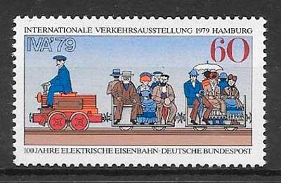 sellos trenes Alemania 1979