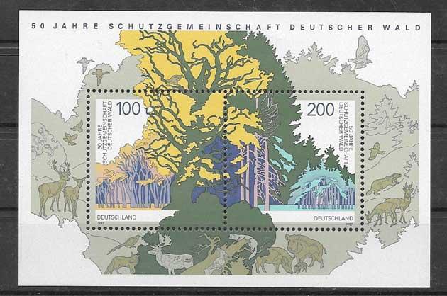 Sellos Filatelia protección de los bosques alemanes