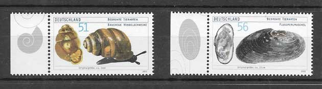 Colección sellos fauna protegida Alemania 2002