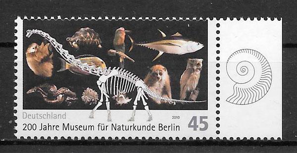 filatelia colección dinosaurios Alemania 2010