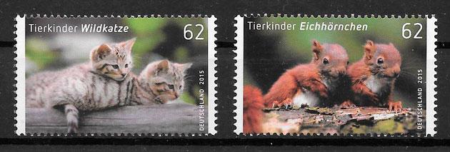colección sellos fauna Alemania 2015