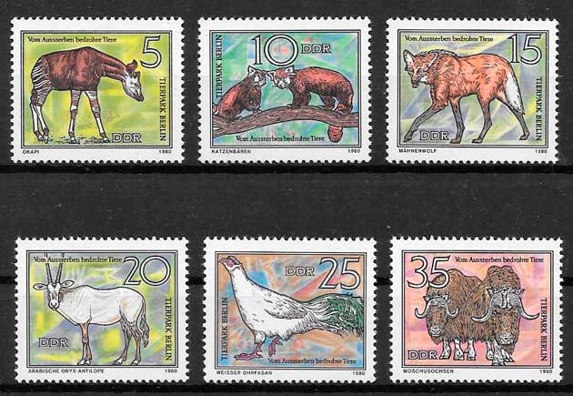 filatelia fauna Alemania DDR 1980