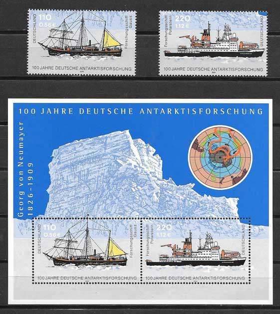 Filatelia sellos Exploración al Antartido