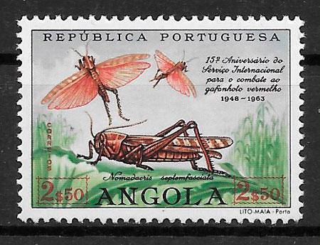 filatelia fauna Angola 1963