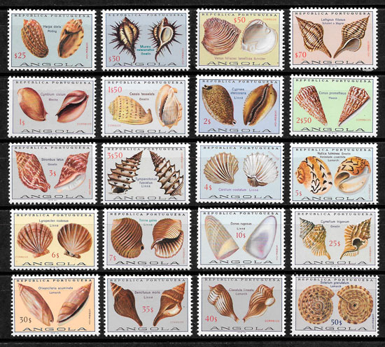 colección selos fauna Angola 1974