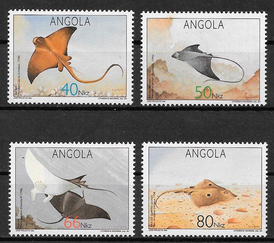 filatelia sellos fauna Angola 1992