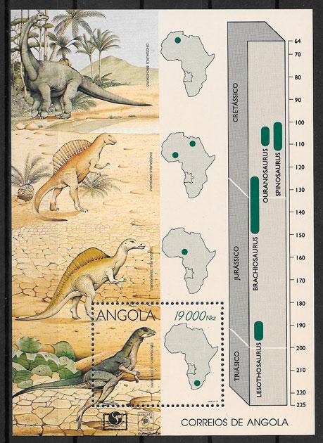 filatelia dinosaurios Angola 1994