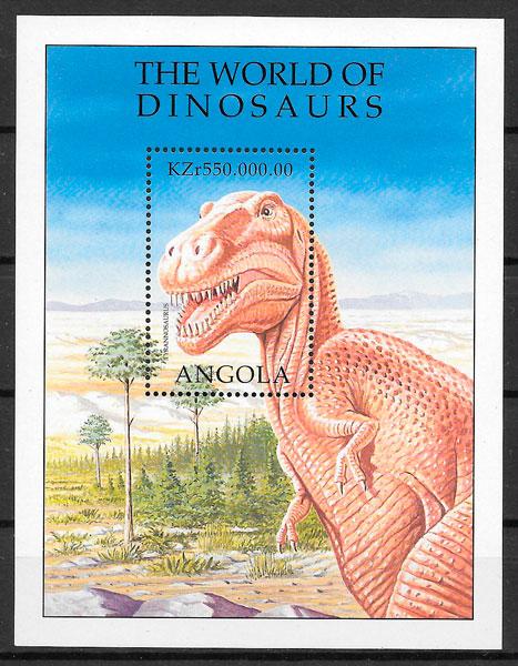 filatelia colección animales prehistóricos Angola 1998