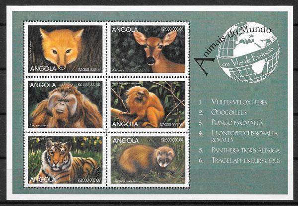 filatelia colección fauna Angola 1999