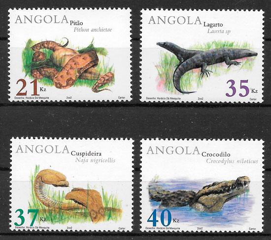 filatelia fauna Angola 2002