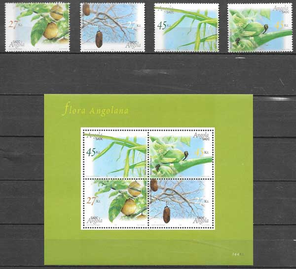 sellos colección flora Angola 2004