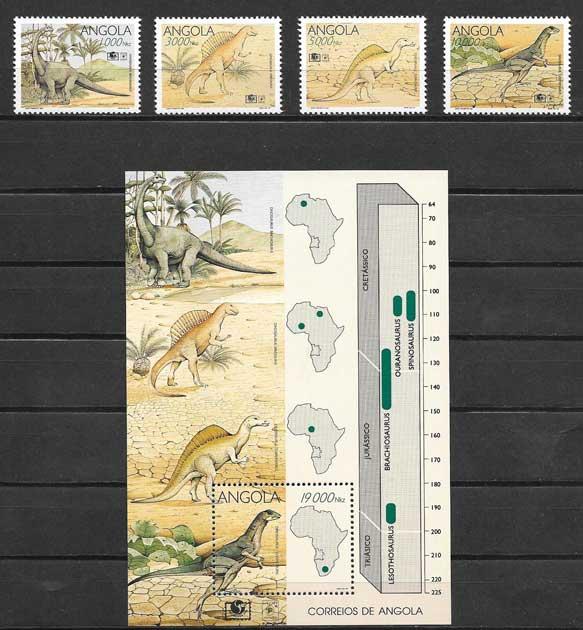 Filatelia fauna - dinosaurios Angola 1994