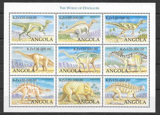 Sellos Filatelia fauna prehistórica de Angola