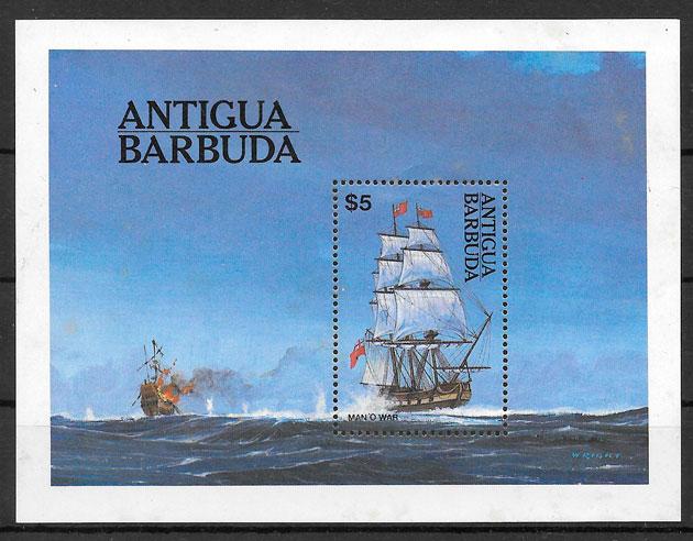 filatelia colección transporte Antigua 1984