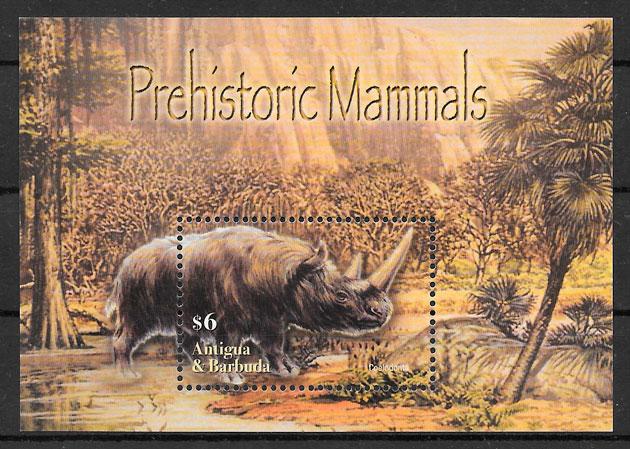 filatelia dinosaurios Antigua 2005