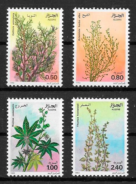 filatelia colección flora Argelia 1982