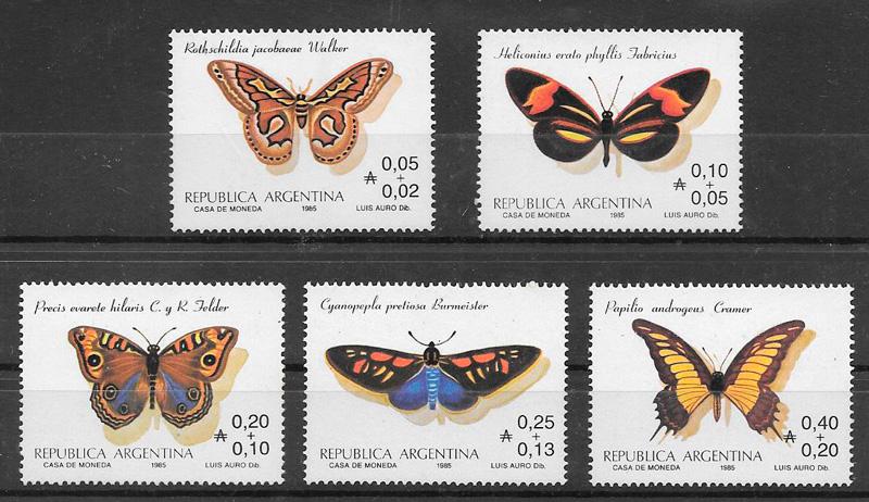 colección sellos mariposas Argentina 1985