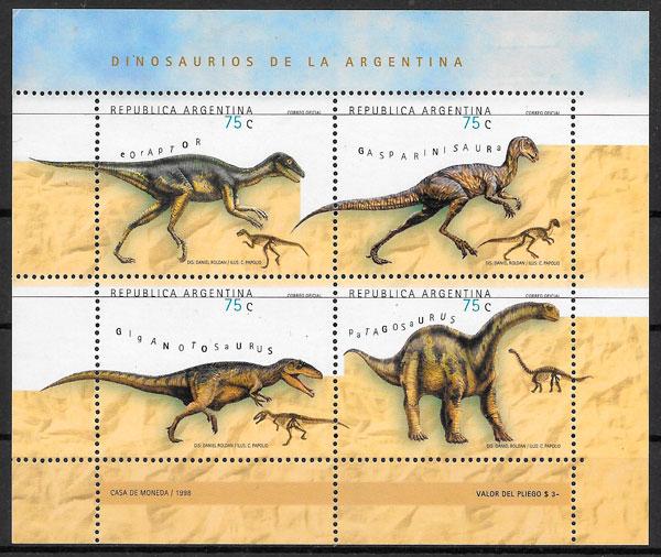 filatelia colección animales prehistóricos Argentina 1998