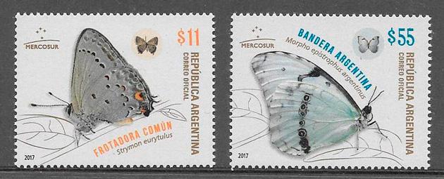 filatelia colección mariposas Argentina 2017