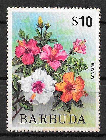 filatelia flora Barbuda 1975