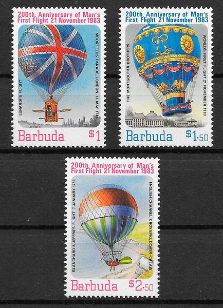 filatelia colección Barbuda transporte 1983