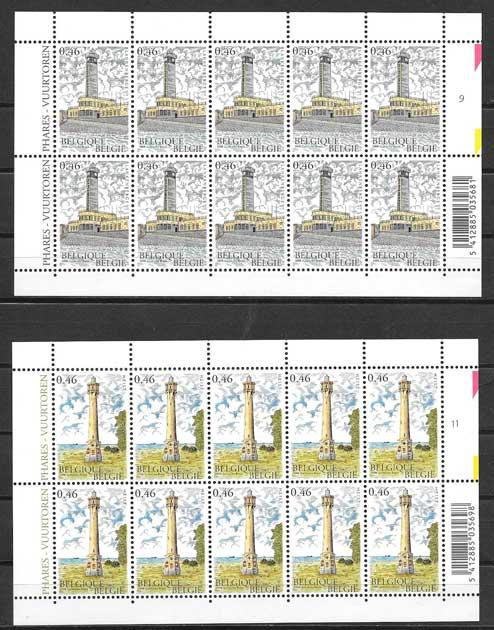 Filatelia Sellos faros de Bélgica 2006.