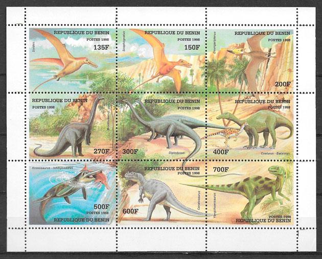 filatelia dinosaurios BENIN 1998