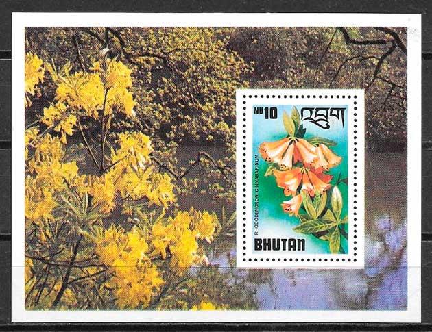 filatelia colección flora Bhutan 1976