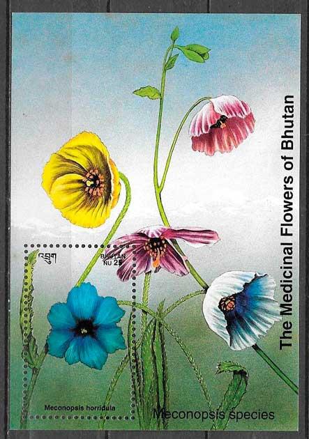 filatelia flora Bhutan 1993