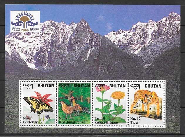 sellos fauna y flora Bhutan 2000