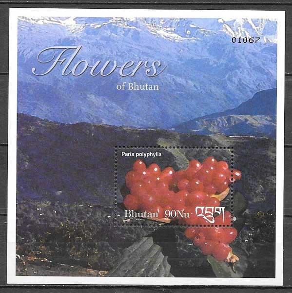 colección sellos flora Bhutan 2002