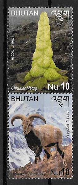 filatelia colección fauna y flora Bhutan 2014