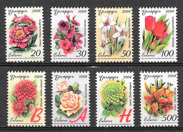 colección sellos flora Bielorrusia 2008