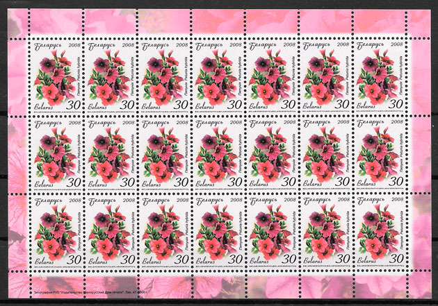 sellos flores Bielorrusia 2008