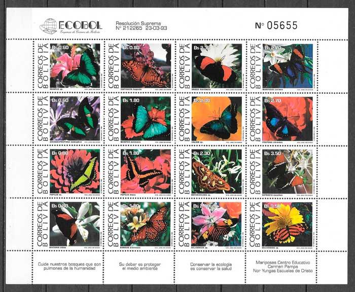 sellos mariposa Bolivia 1993