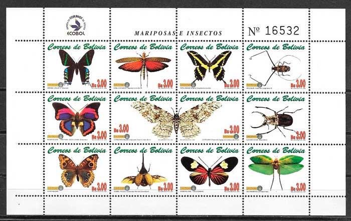 filatelia mariposas Bolivia 2001