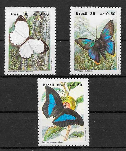 filatelia colección mariposas Brasil 1986