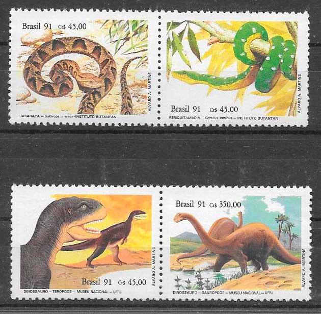 filatelia dinosaurios Brasil 1991