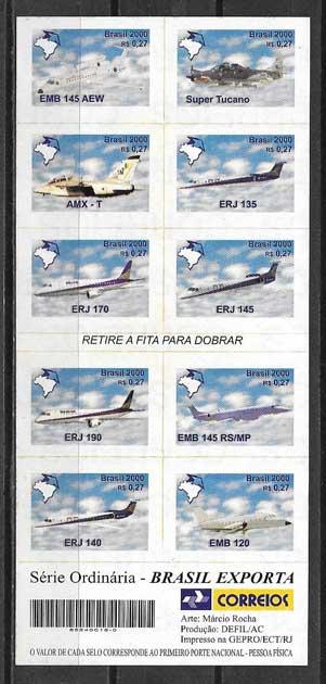 Estampillas aviones Brasil 2000