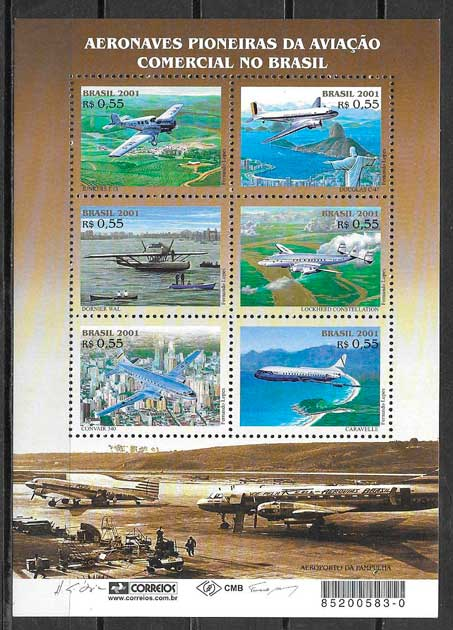 colección sellos transporte Brasil 2001