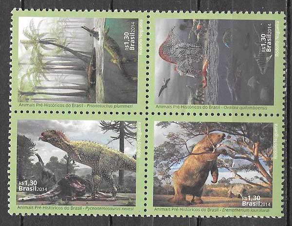 colección sellos dinosaurios Brasil 2014